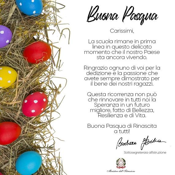 Cartolina di auguri per le festività pasquali da parte del Sottosegretario dell'Istruzione Barbara Floridia