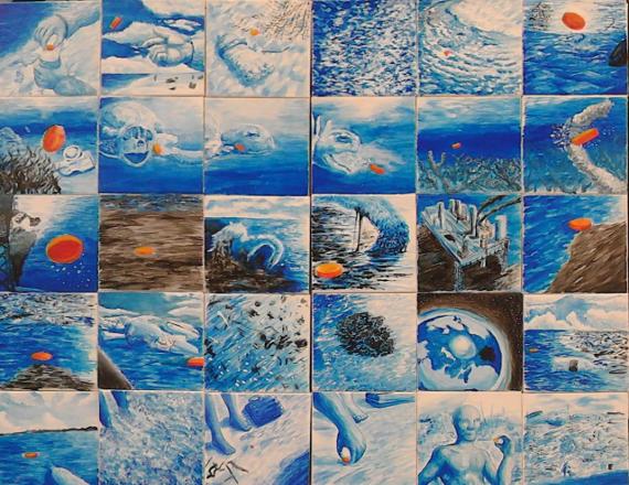 Racconto illustrato (composizione di mattonelle dipinte)