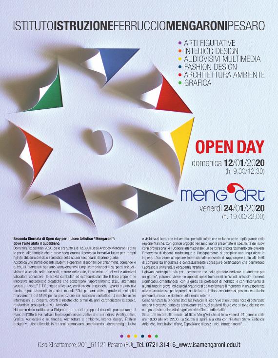Locandina del secondo Open Day e del Mengart